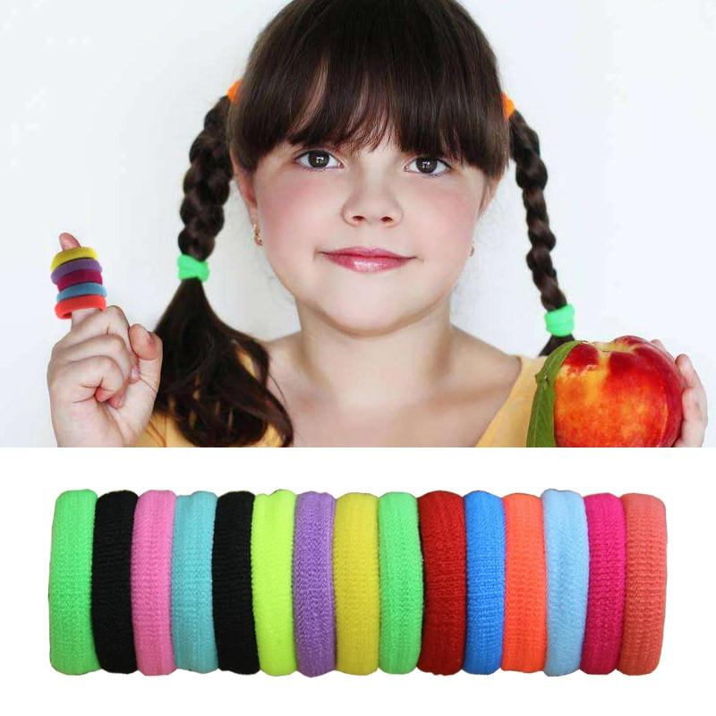 Aikelina 100pcs/bag Girls Headwear Rubberbands 15 Colours 2.5CM Child Kids Women Hair Holders Elastics Tie Gum Hair Accessories