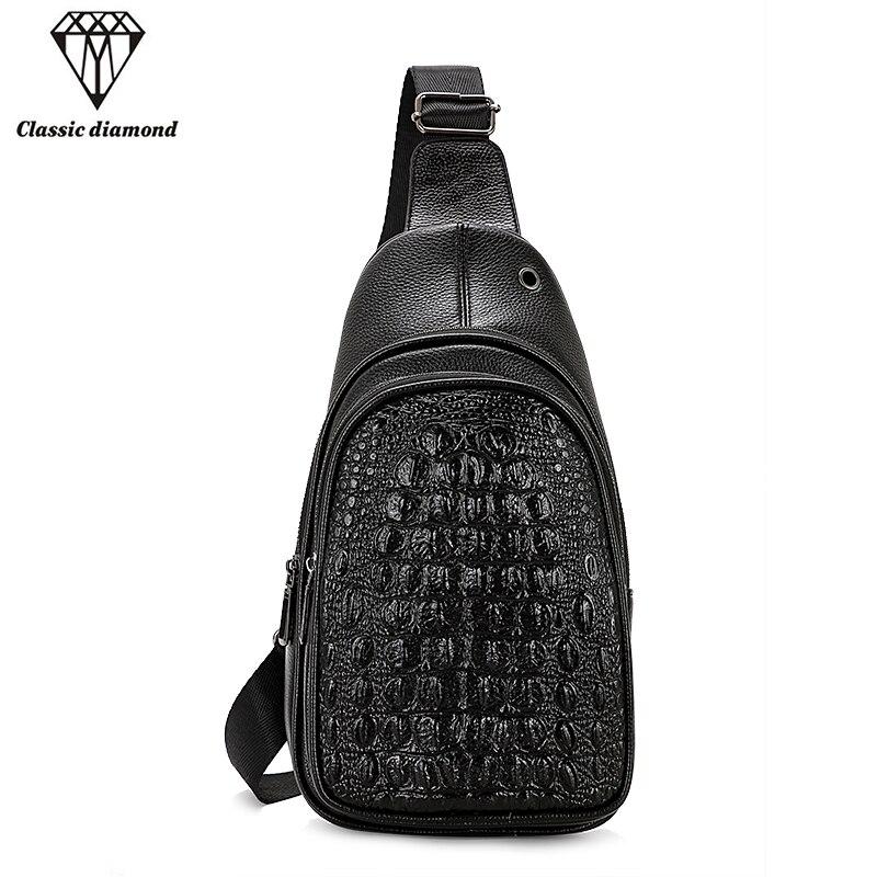 Fashion Alligator Men Chest Bag Male Vintage PU Leather Shoulder Crossbody Bags Famous Brand Business Small Mens Messenger Bag