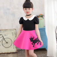 Cute Deer Pattern Little Girl Dress Doll Collar Patchwork Dress Girl Birthday Party Wear Kids Clothes