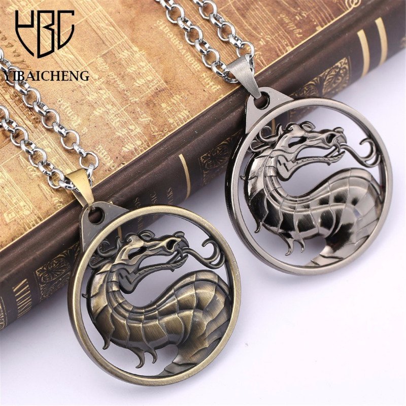 Símbolo do dragão de kombat mortal chaveiro colar pame periferia jane império jogo de luta logotipo colar filme animação em torno de j & r