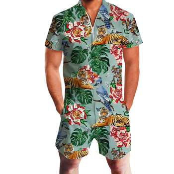 2019 Hawaiian Tiger&Flamingo Print 3D Rompers Men Jumpsuit Playsuit Harem Cargo Overalls Summer Casual Zipper Beach Men's Sets 1
