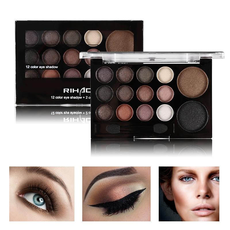 цена на 14 Colors Diamond Eye Shadow Shimmer Smoky Makeup Eyeshadow Palette Earth Color Nude Glitter Matte with Brush Kits Cosmetics