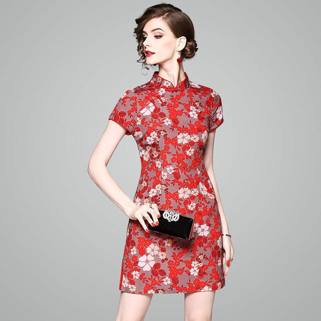 63fcec0ebcfb6 OYCP Luxury Dress 2018 Summer Fashion Designer Elegant Flower Printing Chinese  Style Slim Women High Quality Mini Dresses 80127