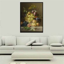 Fruits Still Life Oil Painting Wall Art Printed Canvas Grape Plum Peach Guava Artwork HD Print for Bedroom Office Decor Dropship