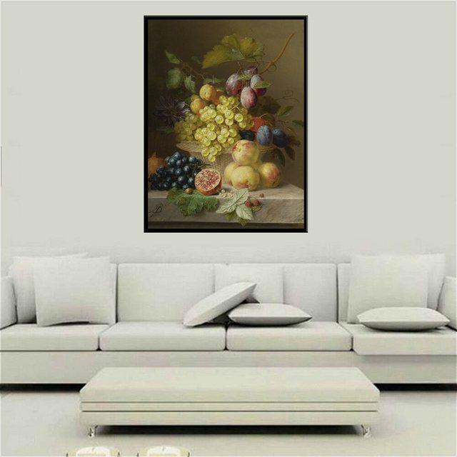 Fruits Toujours La Vie Peinture À Lu0027huile Mur Art Imprimé Toile De Raisin  Prune