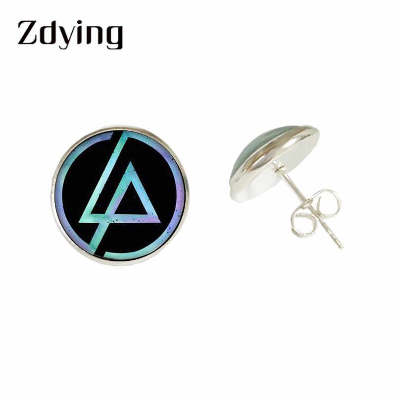 ZDYING Rock Linkin Park серьги гвоздики логотип музыкальной группы узоры стеклянные