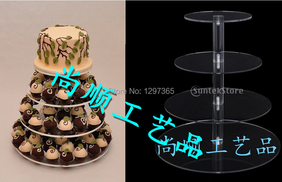 4 Tier Cake pan Acrylic/cake stand dessert plate wedding dessert plate/cupcake stand/wedding favors free shipping-in Stands from Home u0026 Garden on ... & 4 Tier Cake pan Acrylic/cake stand dessert plate wedding dessert ...