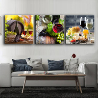 3 Panels Paintings For The Fruit Wine Glass Wall Decor Modern Canvas Art Wall Pictures For