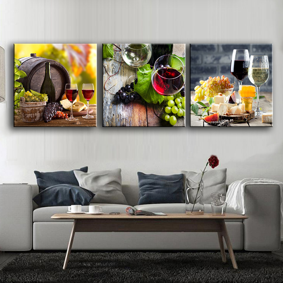 3 panels paintings for the fruit wine glass wall decor for Modern glass wall art decor