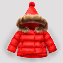 Scorpion leather fur collar  1-7 years boys and girls winter Coat hooded kids down jacket children's parkas Warm winter clothing