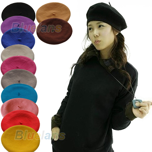 Hot New Fashion Solid Color Warm Wool Winter Women Girl Beret French Artist  Beanie Hat Cap 12 Colors 0J5Y 963de7faddb