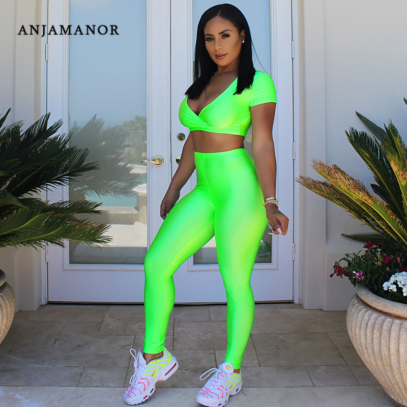 ANJAMANOR Women Two Piece Club Outfits Neon Green Pink Yellow Summer Matching Sets Sports Fitness Clothing Tracksuit  D37-AA88