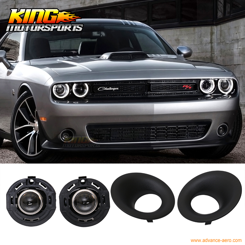For 2015 2016 Dodge Challenger Front Projector Fog Lamp Foglight Pair LH RH Clear Lens 2015 2016 2015 2015