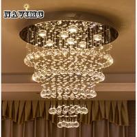 Современный блеск De хрустальная люстра большой Cristal светильники отель проектов лестничные светильники ресторан лампы для коттеджа
