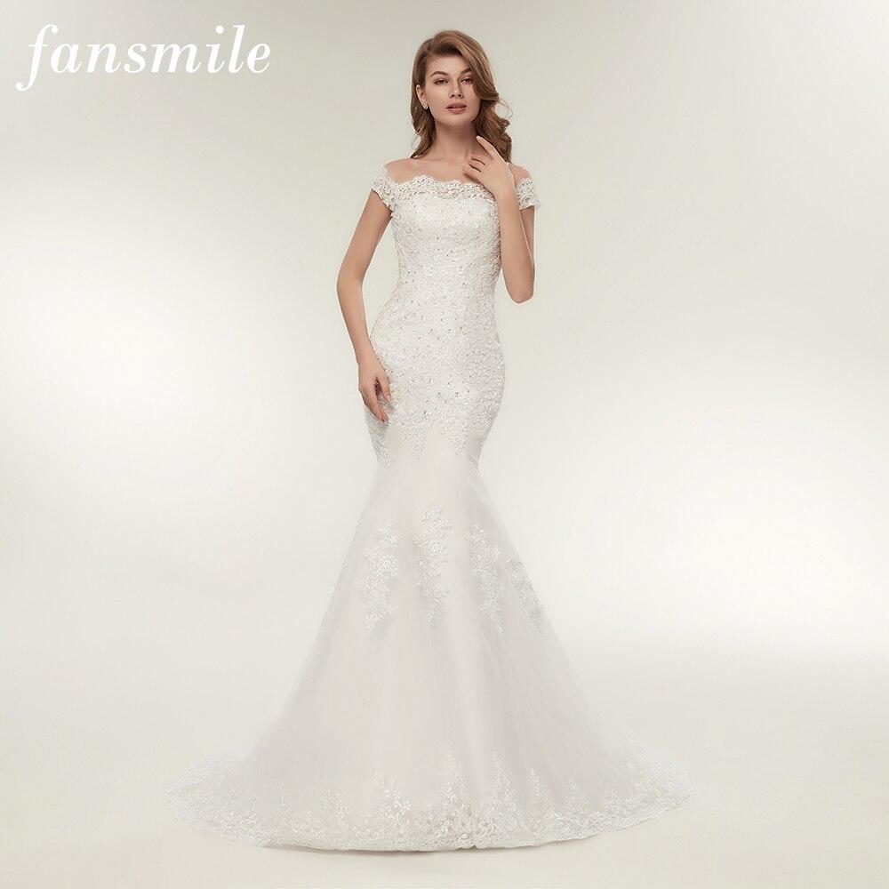 Fansmile Real Photo Vestidos de Novia Vintage Lace Mermaid Wedding Dress 2019 Plus Size Bridal Gowns