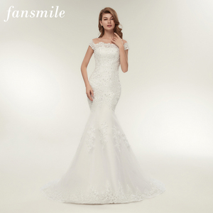 Image 1 - Fansmile Real Photo Vestidos De Novia Vintage Kant Mermaid Wedding Dress 2020 Plus Size Bruidsjurken Robe De Mariage FSM 165M
