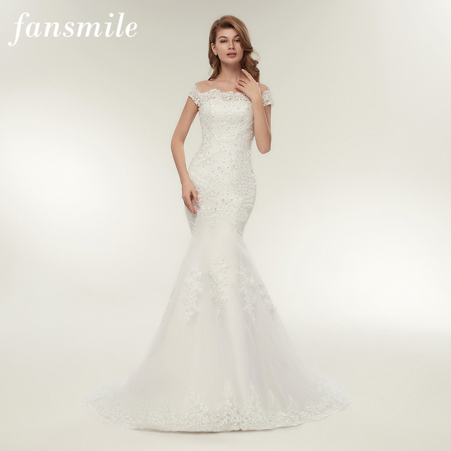 Fansmile Vestidos de Novia Vintage Lace Mermaid Wedding Dress Plus Size Bridal Gowns Robe de Mariage FSM-165M