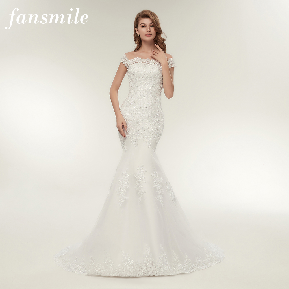 Fansmile Real Photo Vestidos De Novia Vintage Lace Mermaid Wedding Dress 2020 Plus Size Bridal Gowns Robe De Mariage FSM-165M
