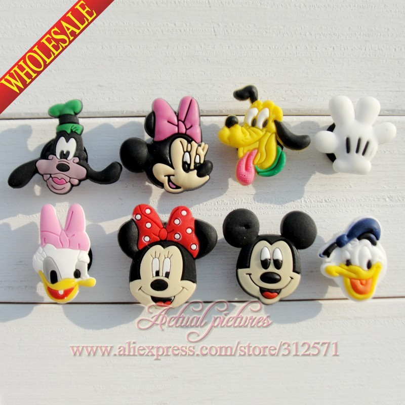 8pcs/set Mickey Minnie Heads PVC Shoe Charms Shoe Accessories Decoration Fit Bands Bracelets Croc JIBZ Shoe Buckles Ornaments