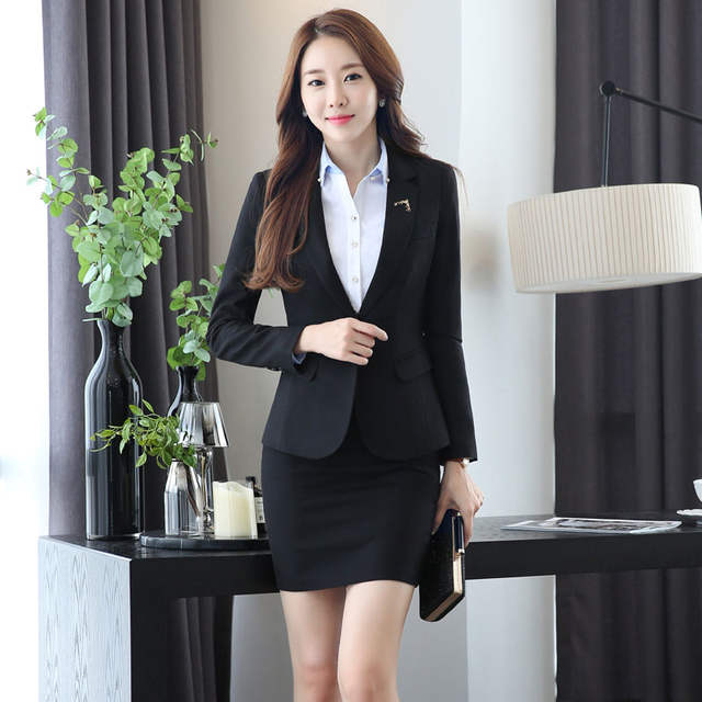1ad6394fbfc placeholder Slim Fashion Uniform Design Work Wear Suits With Jackets And  Skirt Novelty Grey Professional Office Uniforms