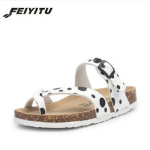 FeiYiTu Summer Women Slippers 2018 Fashion Beach Flat Flip Flops Outside Couple Slides Ladies Cork Casual Shoes(China)