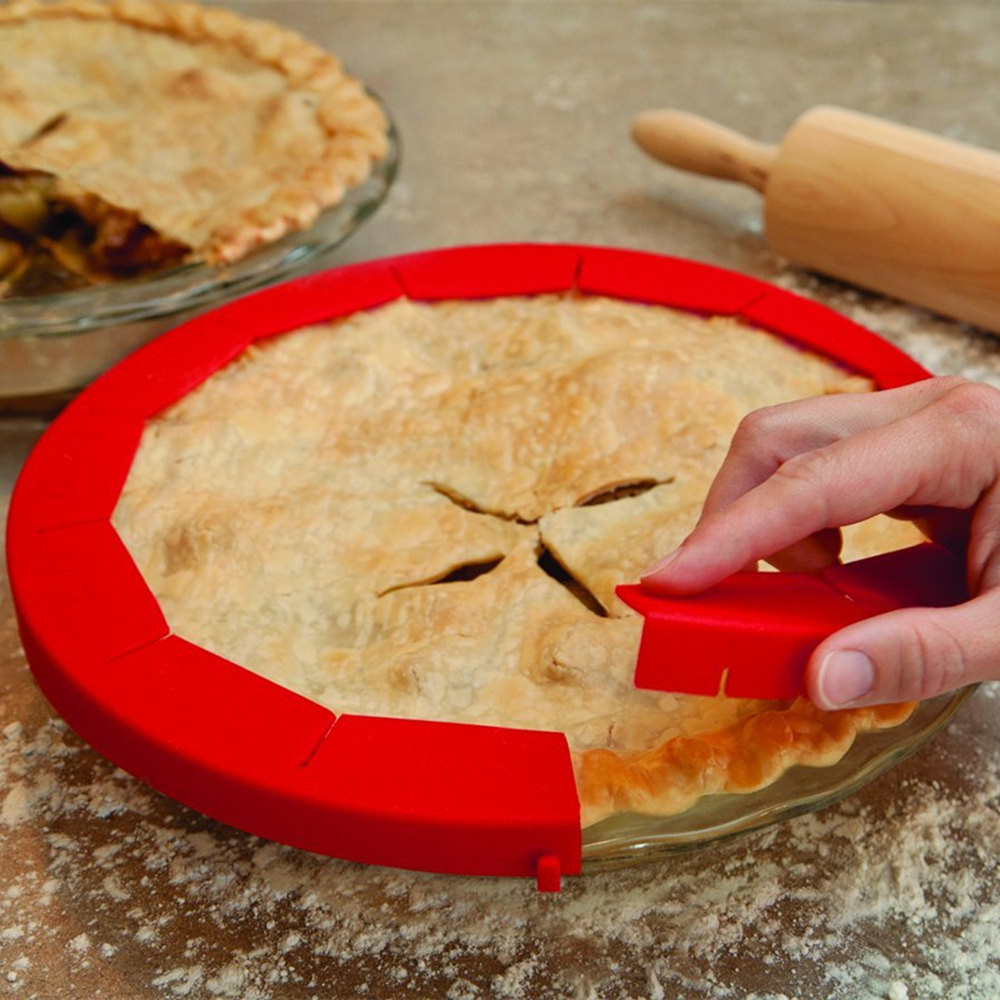 Adjustable Silicone Pie Crust Shield Silicone Fit 8.5-11.5Inch Rimmed Dish AA