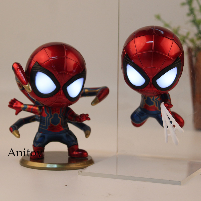 Avengers 3 Infinity War Iron Spider Q Version Bobblehead Figure PVC Marvel Spiderman Collection Model Toy With LED Light
