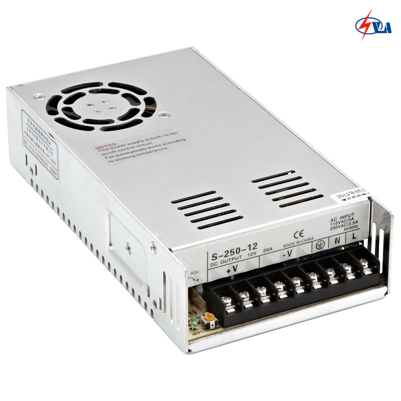 S-250 20A cooling fan 240W power supply switching 12V 24V s 350 24 350w 24v non waterproof aluminium switching power supply cooling fan