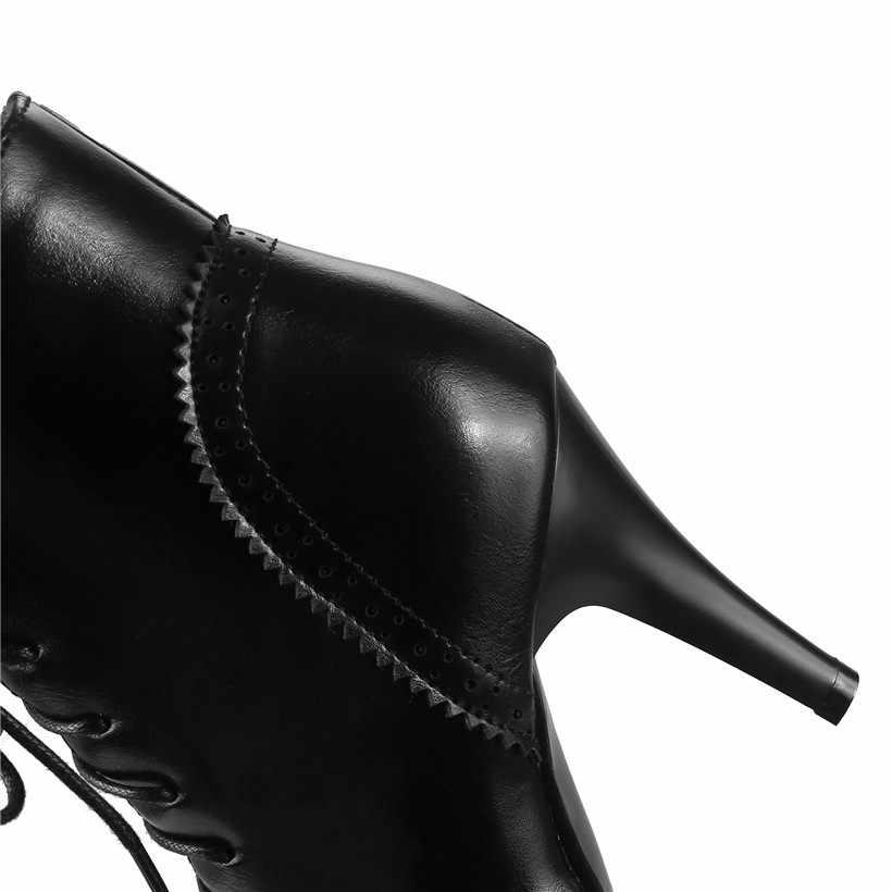 בריטי נשים קרסול מגפי עור מפוצל 9cm גבוהה דק ספייק פגיון העקב הבוהן מחודדת בציר חורף תחרה עד ליידי קצר מרטין אתחול