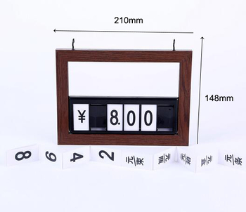 Flip Chart Wooden frame Price Tags, counter pricing board wall back clips pop sign holder frame number switch shift display