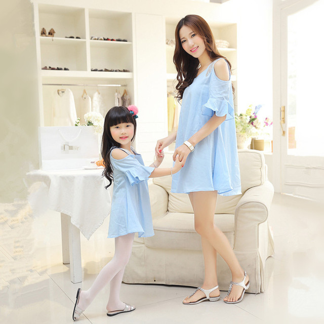 2016 Summer Mom Daughter Dress Strapless Short Sleeved Flounce Dress Loose Dress Family Matching Outfits Girls Clothing
