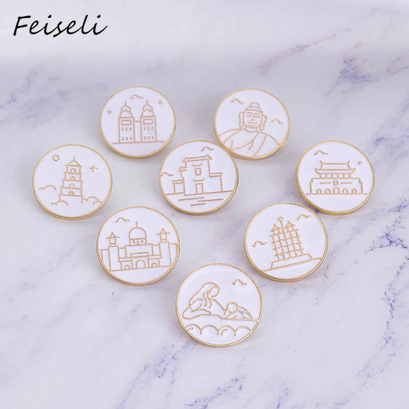 Feiseli Putih Landmark London Bridge Taj Mahal Menara Kastil Enamel Bros Pin Denim Ransel Ornamen Indah Souvenir Lencana