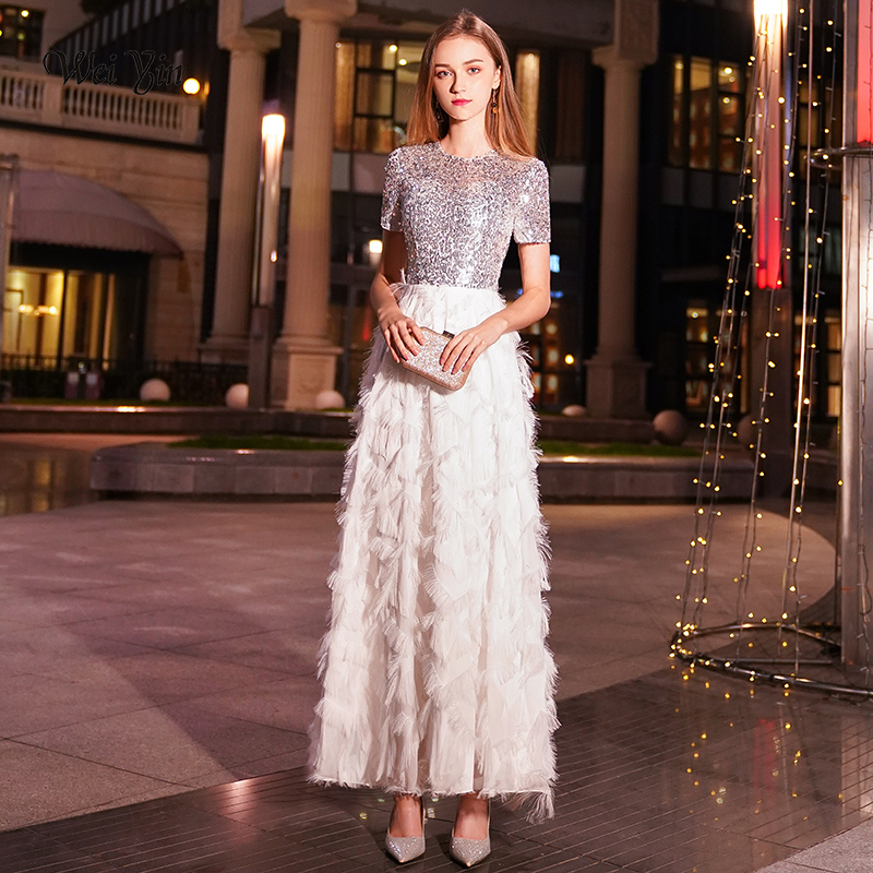 weiyin White Long Evening Dresses Women Elegant Sexy Lace O neck Long Evening Gown 2019 Sequined Dress robe de soiree WY1036 Платье