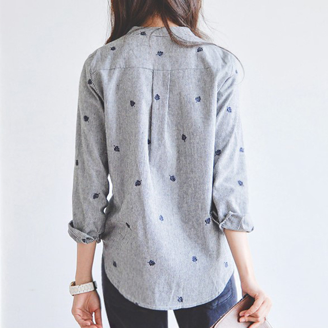 Autumn Leaves Embroidery Long Sleeve Women Blouses And Shirts Female Ladies Casual Shirt Tops Striped Casual Blusas Blouse