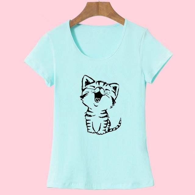 Women's O-Neck Cat Printed T-Shirt