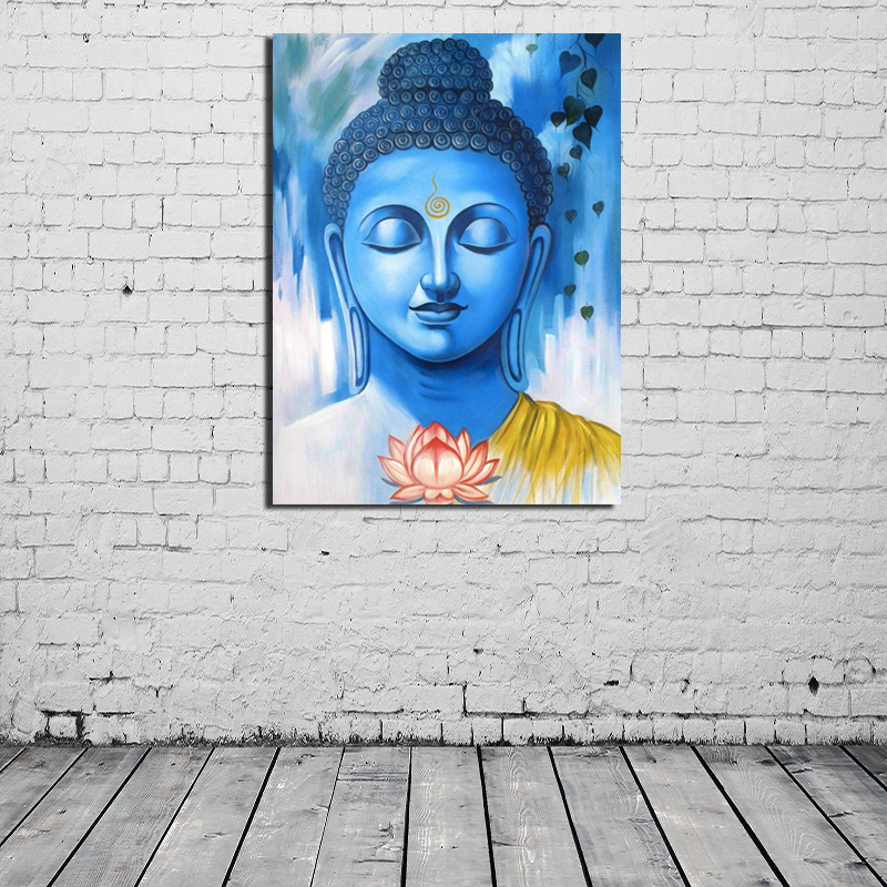 Lord Buddha Blue Painting  Canvas Print Living Room Home Decoration Modern Wall Art Oil Salon Pictures Artwork