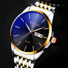 WLISTH 8mm Top Stainless Steel Mens Watch Waterproof Sports Men Watches Date Chinese English Double Display Gold Black
