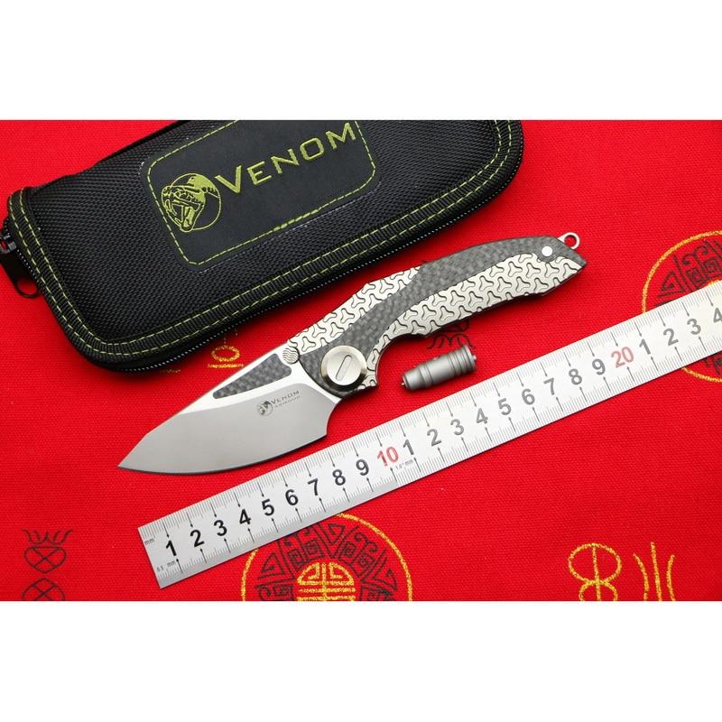 VENIN ARMURE M390 lame Titane CF Flipper couteau pliant camping en plein air chasse survie poche cuisine fruits couteaux EDC outils