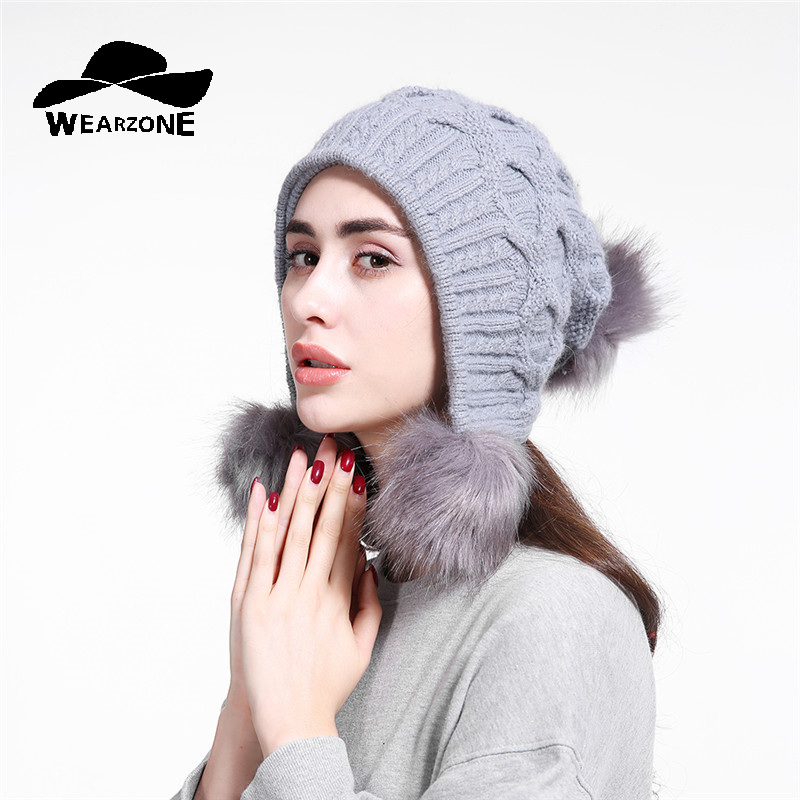2107 Female New Fashion Designer Faux Fur Beanies Women Winter Hat with Ears Warm Beanie Girl Hats with 3 ball
