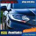 A & T Car Styling Para honda HRV faros Para VEZEL HRV LLEVÓ cabeza de la lámpara Angel eye led DRL delantero luz Bi-Xenon Lente de xenón HID