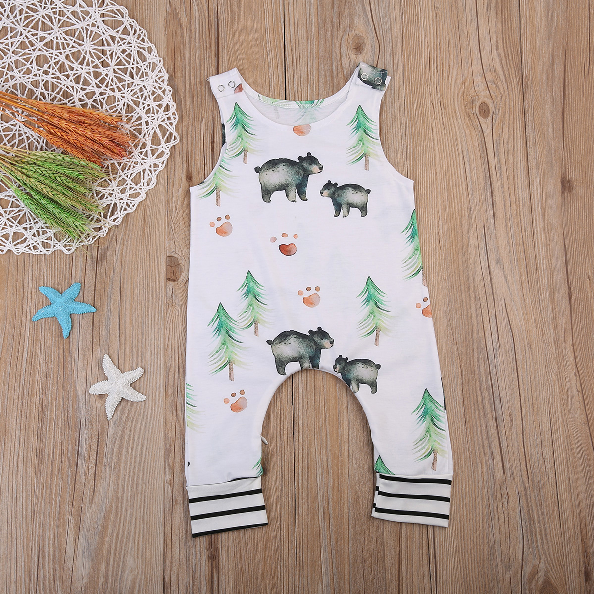 Funny Kids Infant Baby Boy Girl Sleeveless   Romper   Cute Bear Jumpsuit Outfits One-Piece Set 0-24M
