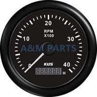 KUS Marine RPM Tachometer Gauge Tacho Meter LCD Engine Hour Meter 12/24V 0 4000 RPM Speed Ration 1 10 85mm Black