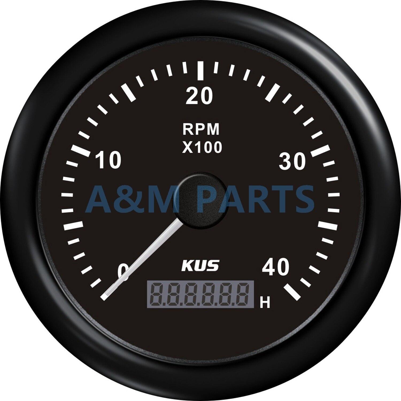 KUS Marine RPM tachymètre jauge Tacho mètre LCD moteur heure mètre 12/24V 0-4000 tr/min vitesse Ration 1-10 85mm noir