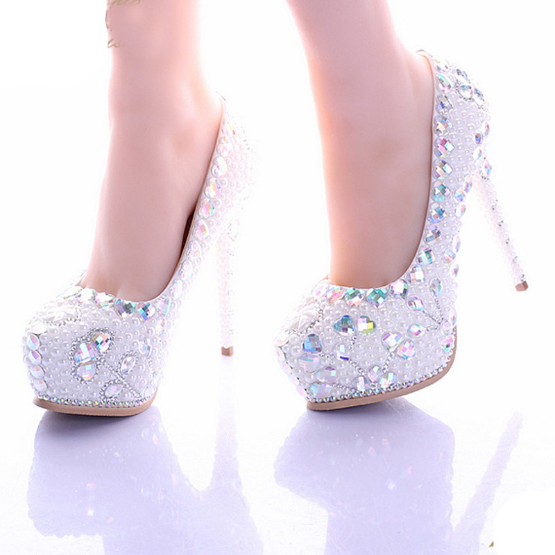 White Pearl High Heel Shoes Crystal Platform Bridal Wedding Shoes Diamond Rhinestone Women Shoes Formal Gown Prom Shoes white ab crystal wedding shoes sparkling rhinestone bridal dress shoes plus size platform high heel shoes cinderella prom pumps