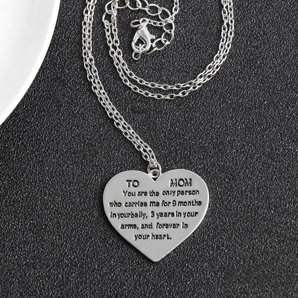 TO My Mom Fashion Lettering Stainless Steel Necklace Clavicle Chain Mother's Day Gift Elegant Heart Pendant Necklace