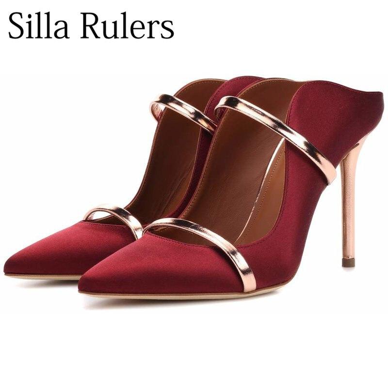 Nuevas zapatillas de tacón alto con tiras finas de metal de retazos azul satinado y seda de primavera y otoño 2018 las mujeres-in Zapatillas from zapatos    1