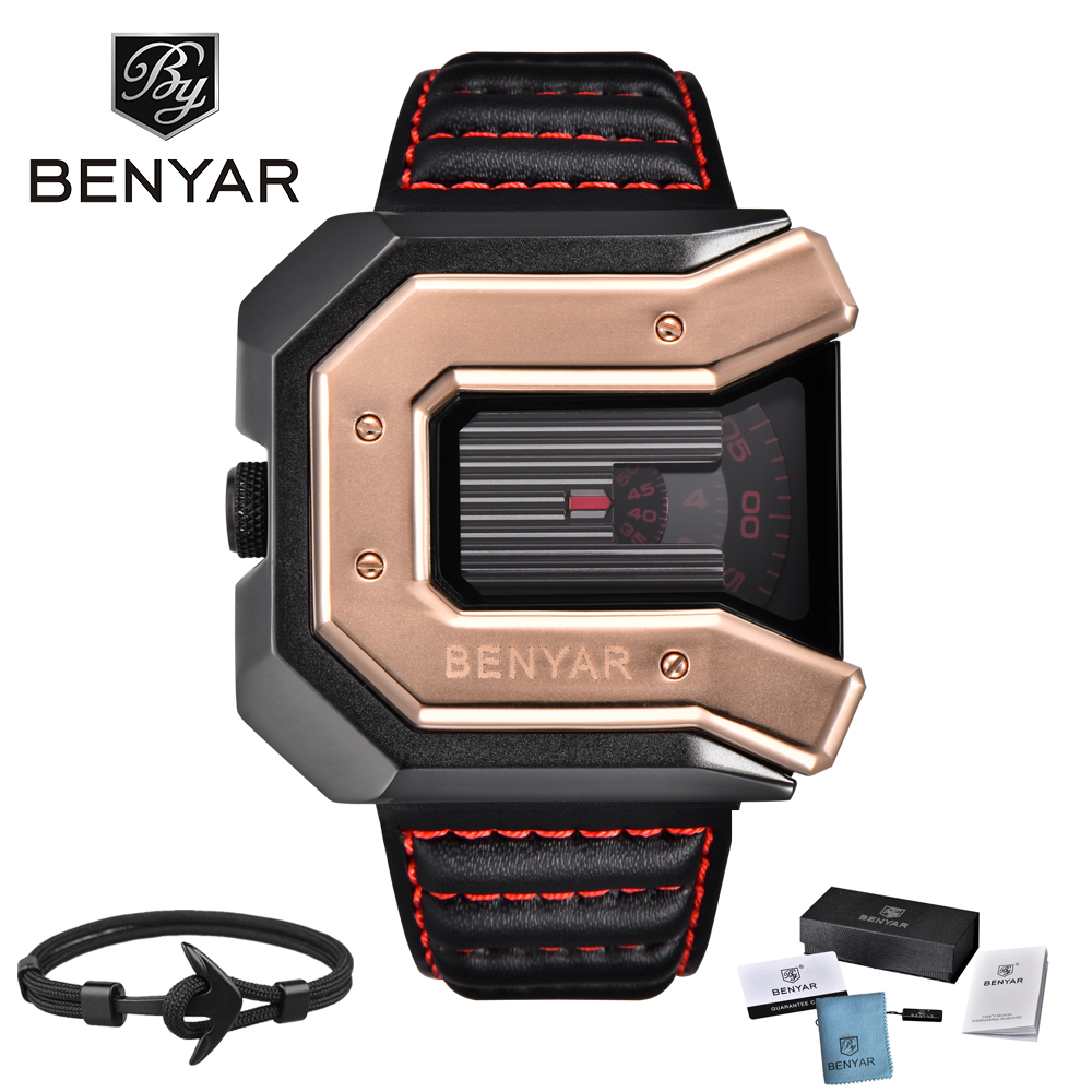 2018 New Top Luxury Brand BENYAR Watches Men Unique Design Leather Strap Fashion Waterproof Quartz Watch Clock Sport Wrist Watch new arrival longbo 3009 fashion men s quarzt watches leather strap waterproof calendar luxury sport watch men male s wrist watch
