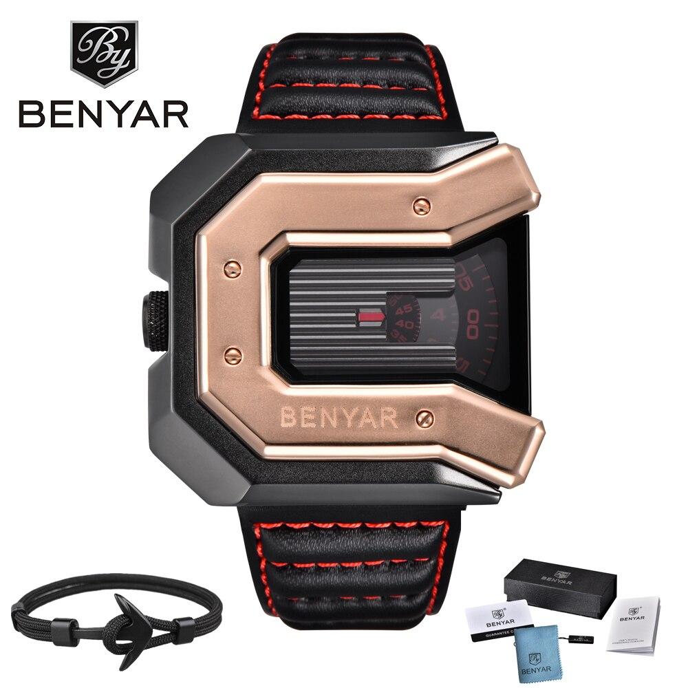 2018 Nouveau Top Luxe Marque BENYAR Montres Hommes De Conception Unique En Cuir Bracelet De Mode Montre À Quartz Étanche Horloge Sport Montre-Bracelet
