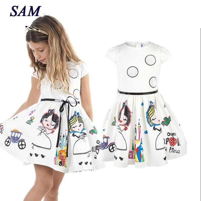 Mädchen Sommer Kleid Kinder Kleidung 2019 Marke Baby Mädchen Kleid mit Schärpen Robe Fille Charakter Prinzessin Kleid Kinder Kleidung