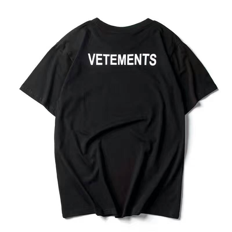 2017 new top ss16 summer vetements letter print men black white short sleeve t shirt hiphop. Black Bedroom Furniture Sets. Home Design Ideas